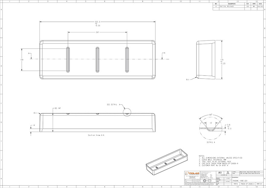 S glass casing design for Cobham